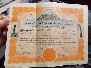 1921 Stock Certificate Los Angeles Area,  San Pedro Point Fermon Oil & Gas Co photo