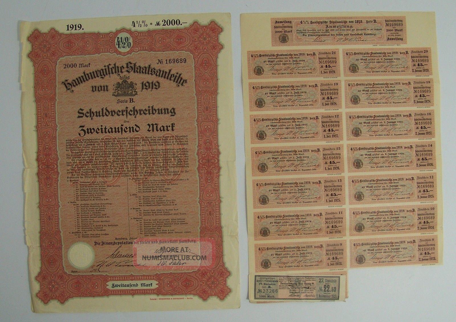 Antique 1919 German Bond W/ Uncancelled Coupons 2000 Zweitausend Mark Hamburg World photo