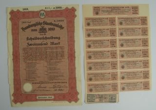 Antique 1919 German Bond W/ Uncancelled Coupons 2000 Zweitausend Mark Hamburg photo