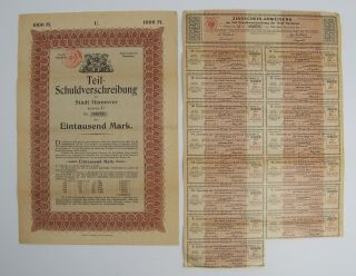 Antique 1919 German Bond W/ Uncancelled Coupons 1000 Eintausend Mark Nr.  03679 photo