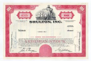 Shulton,  Inc Stock Certificate photo