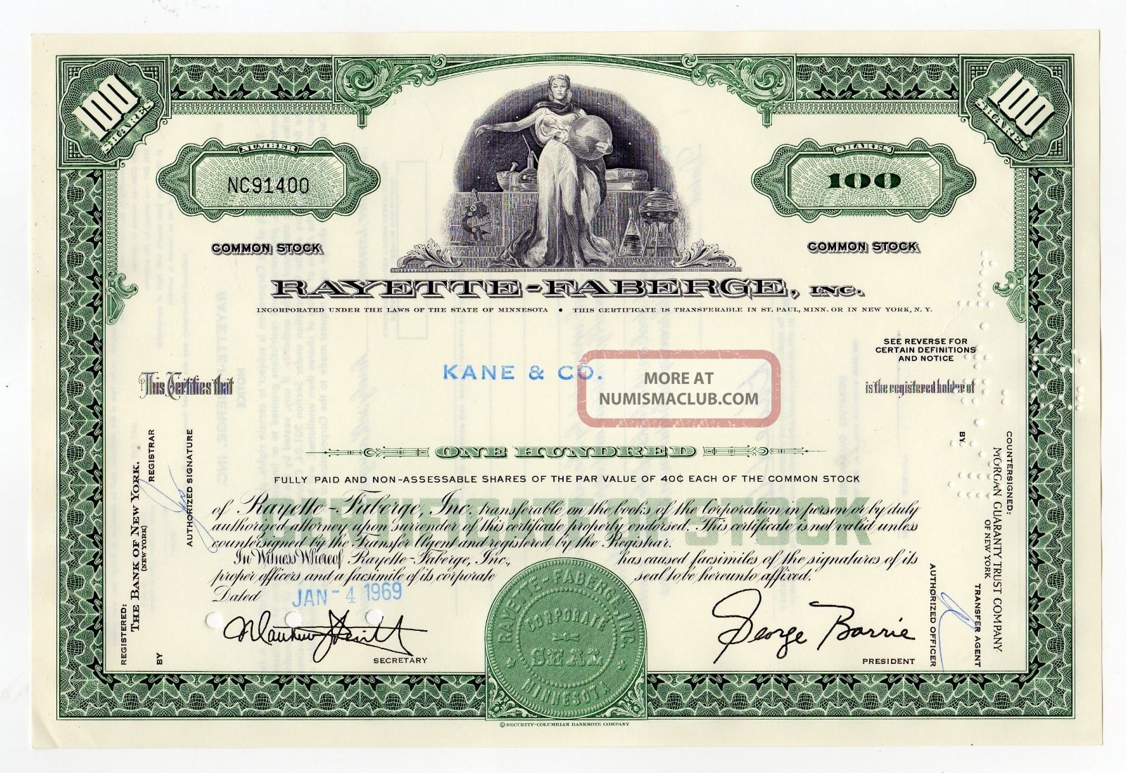 Rayette - Faberge,  Inc.  Stock Certificate Stocks & Bonds, Scripophily photo