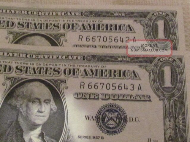 1957 1 Dollar Silver Certificates Consecutive Serial Numbers 16 Near ...