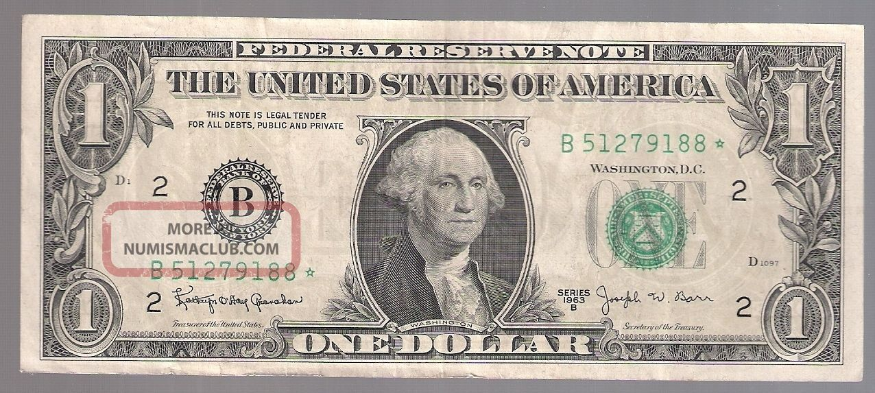 Series 1963 - B One Dollar Federal Reserve Note Serial B 51279188 Star (barr Note) Small Size Notes photo