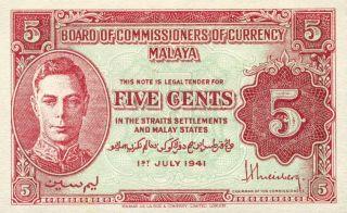Malaya Malaysia 5 Cents 1941 Uncirculated Note (stock 0367) photo