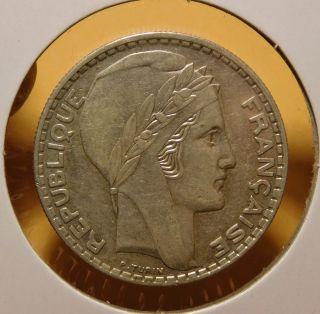 1933 France 20 Francs Silver photo