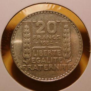 1934 France 20 Francs Silver photo