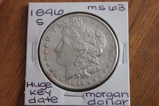 1896 - S Huge Key Date Gem Bu,  Morgan Silver Dollar photo