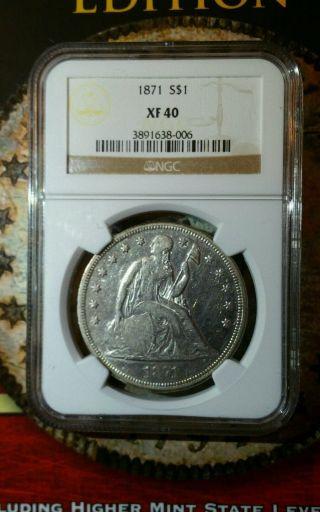 1871 Liberty Seated Dollar Ngc Xf40 photo