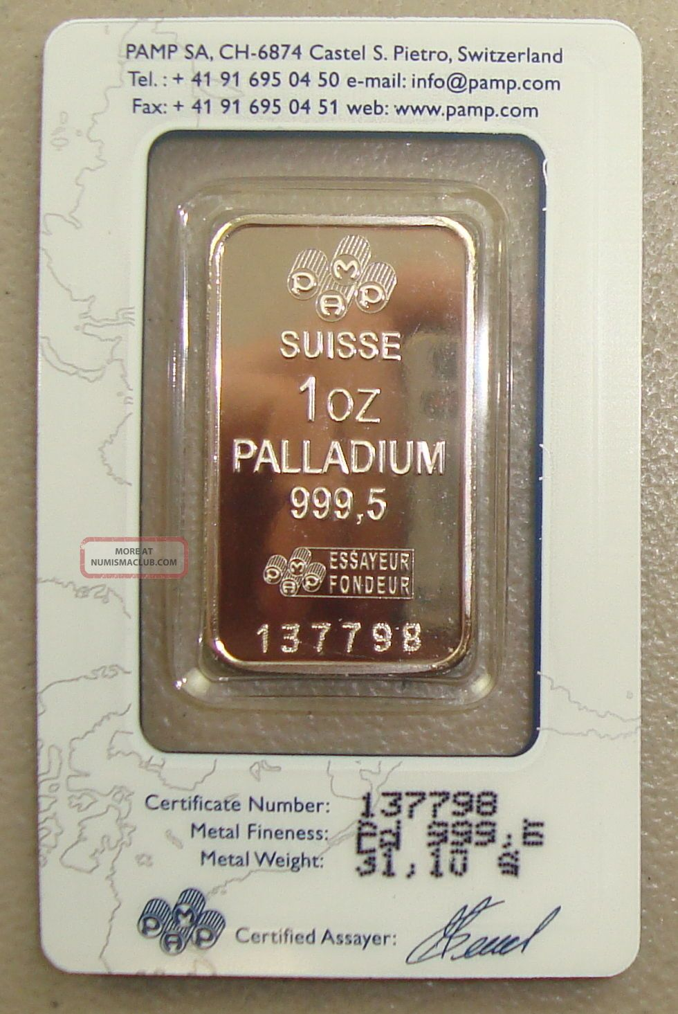Pamp Suisse 1 Oz.  9995 Fine Palladium Bullion Bar Bullion photo