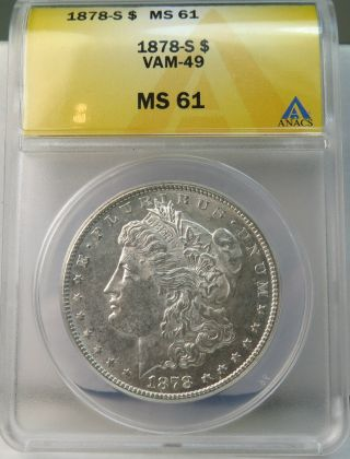 1878 S Morgan Dollar Anacs Ms61 Vam 49 Funky Feather Rev. photo