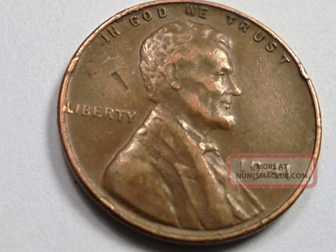 1941 P Wheat Cent Obv Lamination W Peel Error Er41p R1