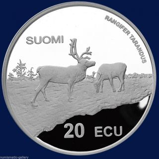 Finland 20 Ecu 1998 Silver Pf = Reindeers/sky Jumper = photo