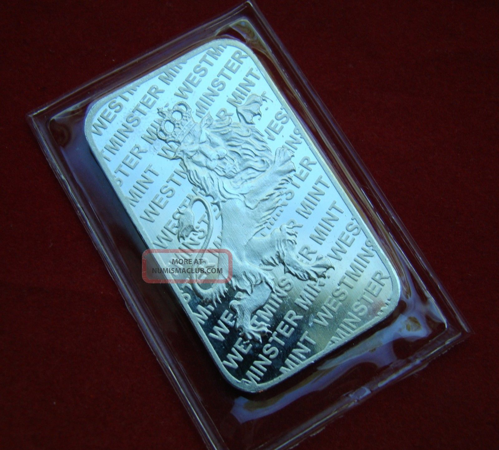 Solid Silver Bar 1 Troy Oz Crowned Lion Wm Westminster Usa