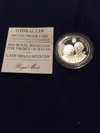 Gibraltar 1 Crown 1981 Gem Proof Silver Wedding Prince Charles Lady Diana photo