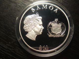 1952 - 2012 Silver.  9999 10$ Diamond Jubilee Elisabeth Ii Rcm Samoa Island photo