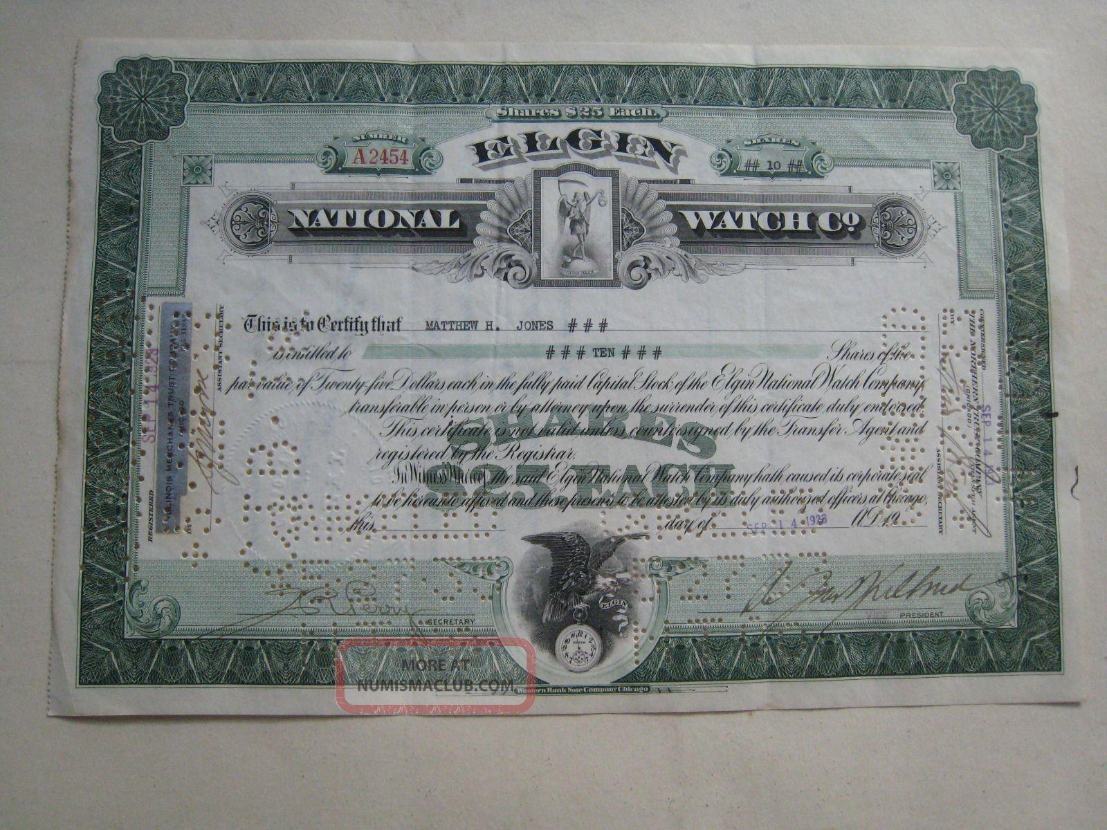 Elgin National Watch Company Stock Certificate Stocks & Bonds, Scripophily photo