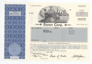 Enron Corp.  Stock Certificate photo