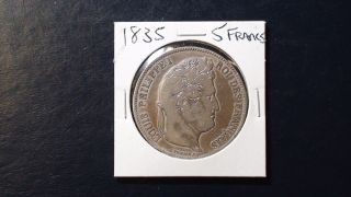 1833 5 Francs 0.  900 Silver France Km 749 Starts At 99 Cents photo