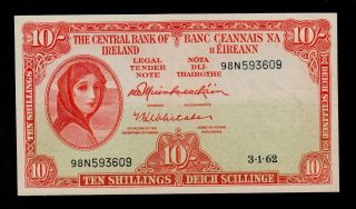 Ireland Republic 10 Shillings 1962 Pick 63 Xf Banknote. photo
