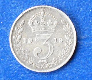 . 925 Silver 1919 Great Britain 3 Pence George V Toned Circ Rb 47 photo