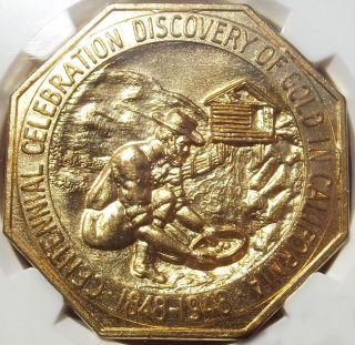 1948 California Gold Discovery Medal - Ngc Ms65 - Hk497 Octagonal Token/slug,  Bu photo