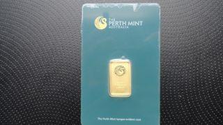 Perth 5 Gram.  9999 Gold Bar - With Assay Certificate Sku A014792 photo