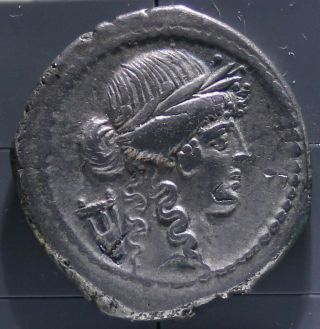 42 B.  C.  Silver Roman Republic Denarius Coin P.  Clodius photo