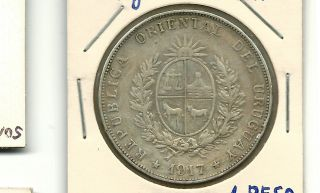 Uruguay 1917 1 Peso Silver Coin photo