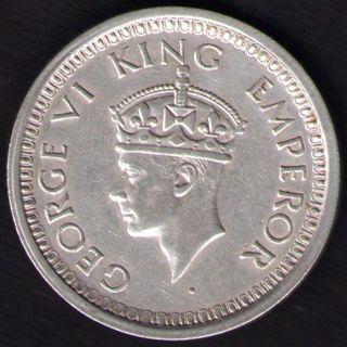 British India - 1944 - George Vi One Rupee Silver Coin Ex - Rare photo