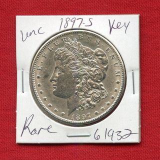 1897 S Bu Unc Morgan Silver Dollar 61932 Ms,  Coin Us Rare Key Date Estate photo