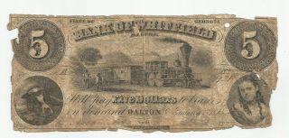 1860 Bank Of Whitfield Dalton,  Georgia $5 Five Dollar Bank Note (1652) photo