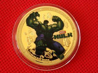 Superhero,  Hulk,  Colored,  24k Gold Plated,  Commemorative Coin,  Token photo
