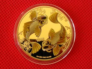 Double Koi,  Colored,  Gold Plated Commemorative Coin,  Token photo