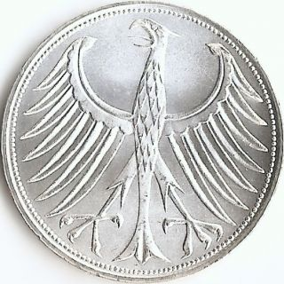 Germany 1970 G 5 Mark Silver Coin,  Gem Bu Frosty White Cartwheel Luster Km 112.  1 photo