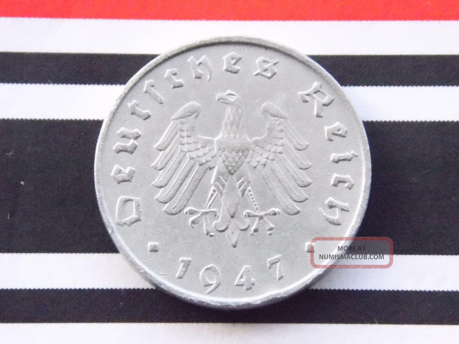 German Coin 10 Reichspfennig 1947 A Zinc Allied Occupation Thrid