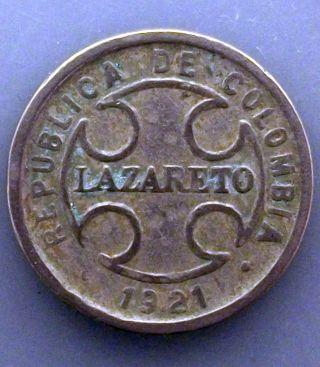 1921 Colombia Lazareto Leper Colony 2 Centavos Coin Km L10 Prquqy photo