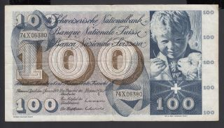 Switzerland 100 Franken 05 - 01 - 1970 Vf P.  49l,  Banknote,  Circulated photo