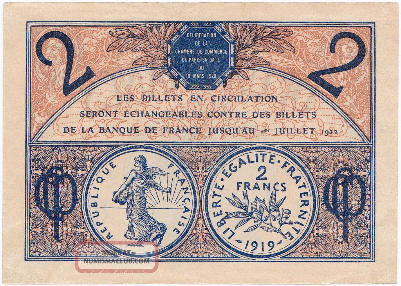 France 2 francs 1919 1922 xf chambre de commerce de paris for Chambre de commerce france canada