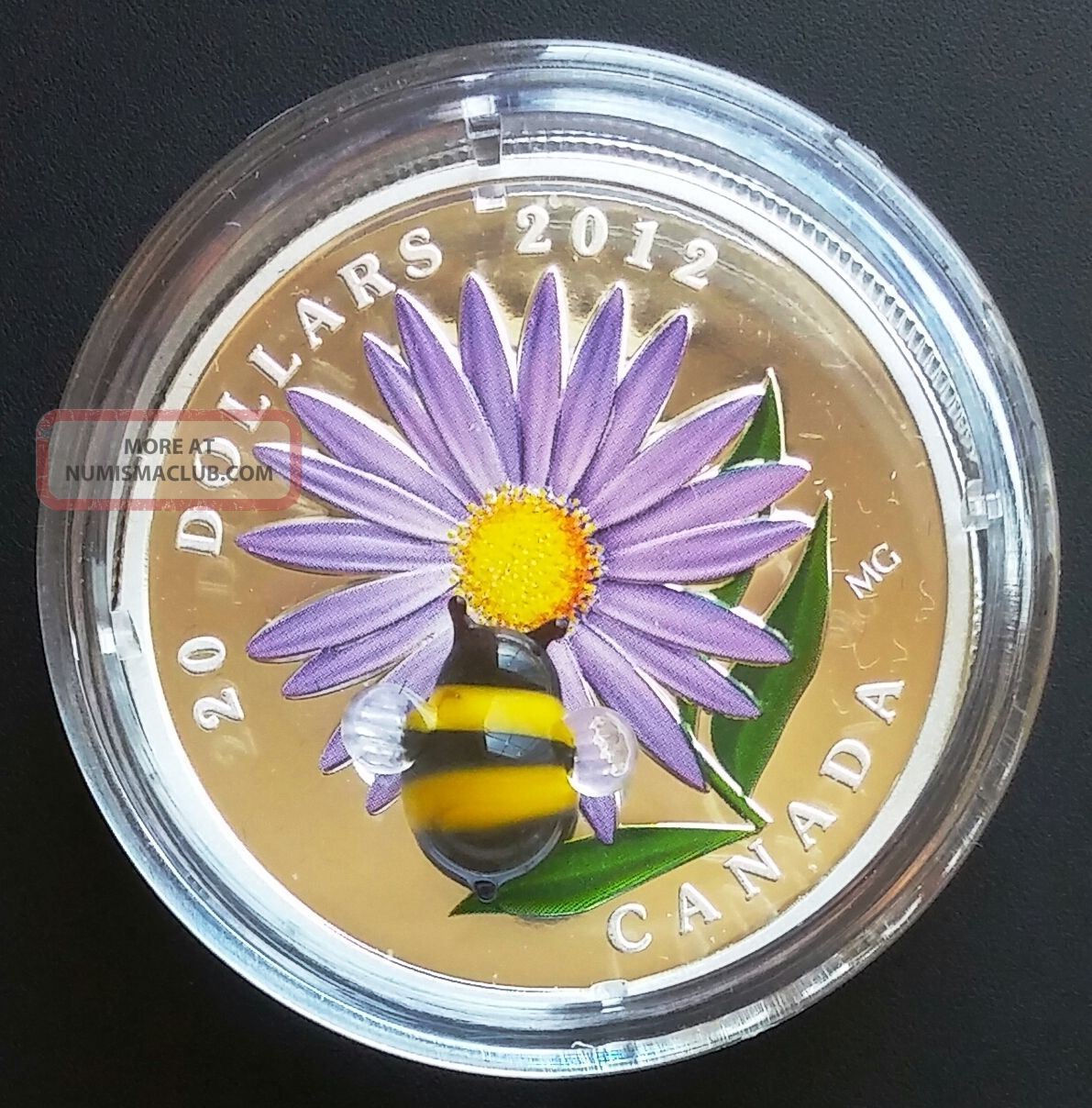 2012 Canada $20 Fine Silver Aster and Bumble Bee Coin