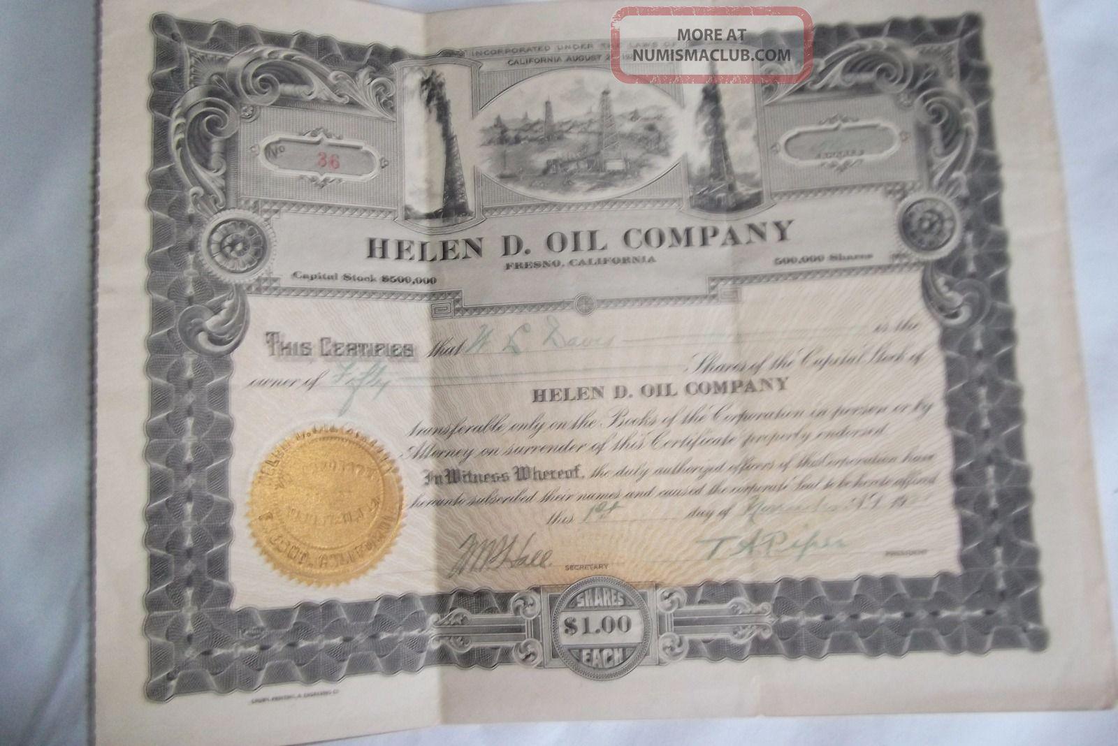 Helen D.  Oil Company,  Fresno,  California Stock Certificate - Issued 1921 - 50 Shares Stocks & Bonds, Scripophily photo