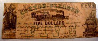 1862 $5 Cottonpledged Jackson Mississipi Bank Note Printed On Mississipi Bond photo