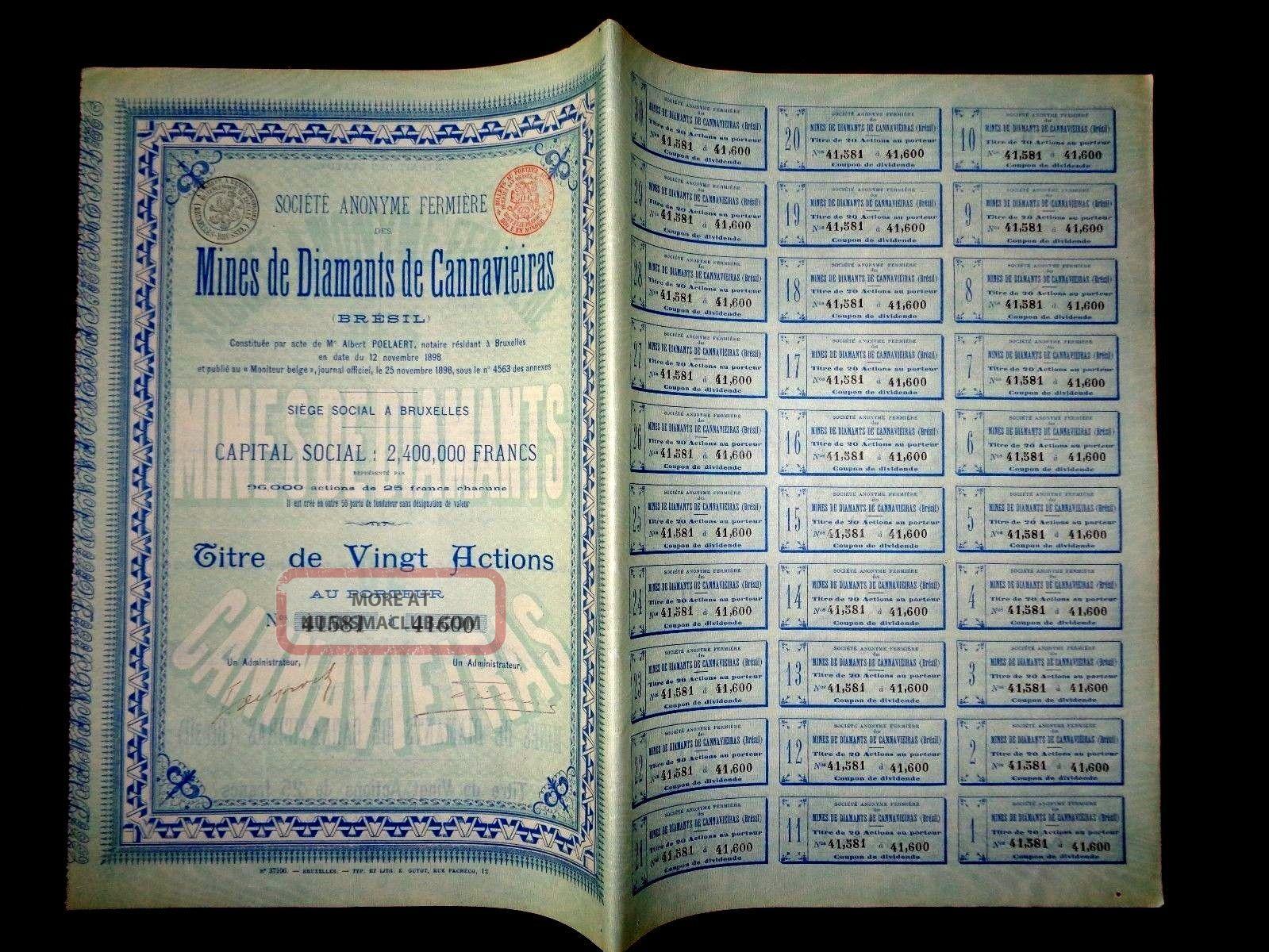 Mines De Diamants De Cannavieiras,  Share Certificate 1898 Diamond Mine Brazil World photo