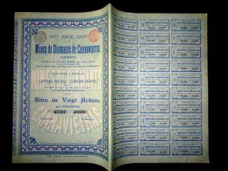 Mines De Diamants De Cannavieiras,  Share Certificate 1898 Diamond Mine Brazil photo