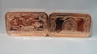 1oz.  999 Copper Bullion $1 Black Eagle Bn Ingot,  Copper Ingot F/s photo