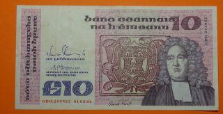 Ireland: Irish Ten Pound Note.  1.  2.  1988.  Jonathan Swift. photo