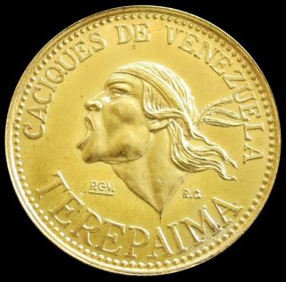1955 Gold Terepaima Venezuela 6 Gram Indian Caciques Coin State photo