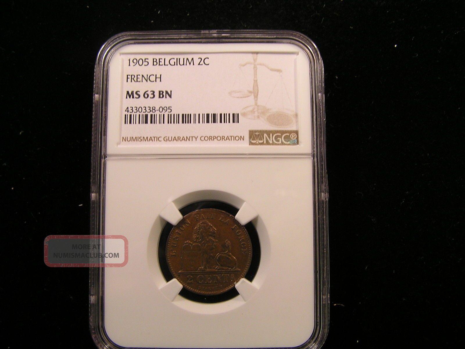 Belgium 1905 2 Centimei Ngc Graded Ms 63 Bn Europe photo