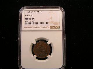 Belgium 1905 2 Centimei Ngc Graded Ms 63 Bn photo