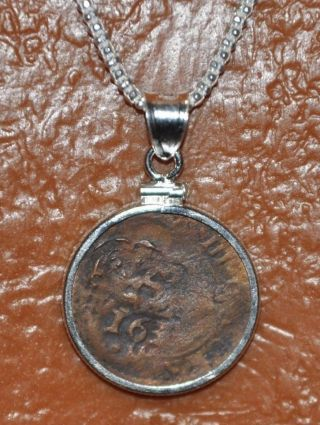 Authentic 1630 Pirate Shipwreck Cob Coin 925 Solid Sterling Silver Pendant Chain photo